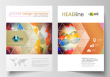 Business templates for brochure, magazine, flyer, booklet or annual report. Cover template, flat layout in A4 size. Abstract colorful triangle design vector background with polygonal molecules.