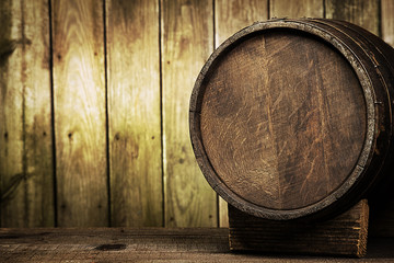 barrel on wood background