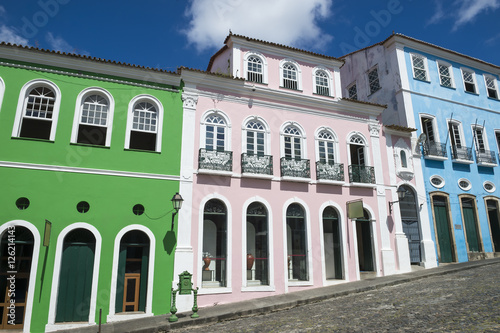 The historic city center of Pelourinho in Salvador da Bahia, Brazil featuring co Poster