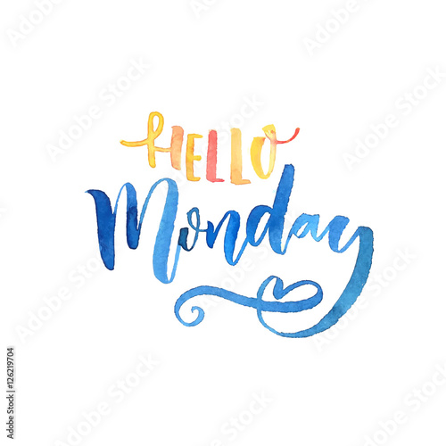 Hello Monday text. Inspirational vector saying. Orange and blue watercolor lettering.