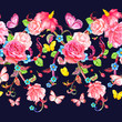 folk seamless border with roses and butterflies. watercolor pain