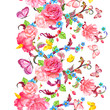 vertical seamless border with roses and butterflies. watercolor