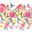 horizontal seamless border with roses and butterflies, bird. wat