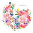 lovely invitation card with exotic flowers arrangement. watercol