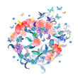 invitation card with abstract flowers arrangement and flying but