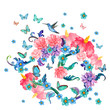 invitation card with abstract floral ball and flying butterflies