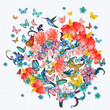 abstract floral tree with flying butterflies. watercolor paintin