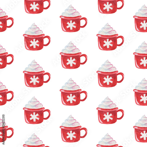 Cotton fabric Seamless watercolor pattern: Merry Christmas Cup