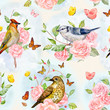 seamless texture with floral fantasy. birds on rose tree and lov