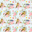 vintage seamless texture with life of birds in fancy forest. wat