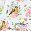 nature seamless texture with cute birds in fancy forest. waterco