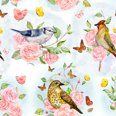 retro seamless texture with cute birds on rose tree and lovely f