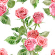 seamless texture with bouquets of roses. watercolor painting