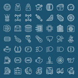car parts and garage service white line iconset
