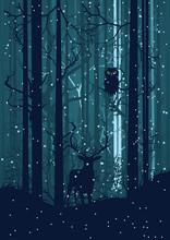 Nevado Bosque del invierno con los ciervos