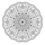 Mandala. Round black and white oriental pattern. Arabic, Indian, American ethnic ornament such as adult coloring book, tattoo, batik, t-shirt print. Vector illustration.