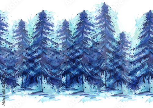 Watercolor border. It consists of the elements of trees pine, spruce, winter forest. The pattern on a white background isolated - 126237919