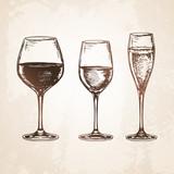 Sketch set of wineglasses.