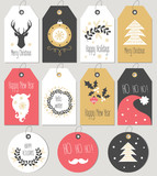 Fototapety Set Merry Christmas and New Year gift tags and cards. Vector illustration