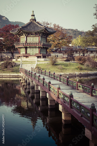 Emperor palace at Seoul. South Korea. Lake. Mountain. Reflection Poster