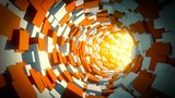 Infinite tunnel of cubes. Looped video.