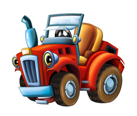 Cartoon farm tractor- isolated - illustration for children