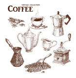 Coffee set. Hand drawn collection in vintage style. Vector illustration.  - 126271902