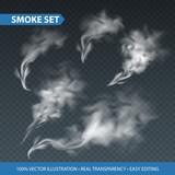 Fototapety Delicate white cigarette smoke waves on transparent background. Vector illustration