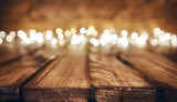 lights on wooden rustic background - 126305973