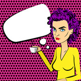Angry woman purple hair pop art drinking coffee