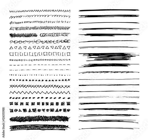 Set of hand drawn line borders, scribble strokes and design elements isolated on white. Doodle style brushes. Monochrome vector eps8 illustration. - 126315988
