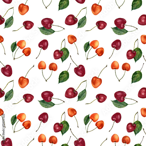 Fototapeta Summer cherry berries watercolor seamless pattern. Watercolor cherries isolated on white background. For design, textile and background.