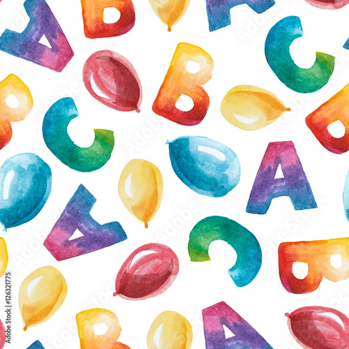 watercolor seamless pattern of letter A, B, C and baloon.