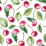 seamless background of cherry and leaves