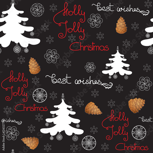 Cotton fabric Vector xmas seamless pattern. Include pine cone, tree with toys.