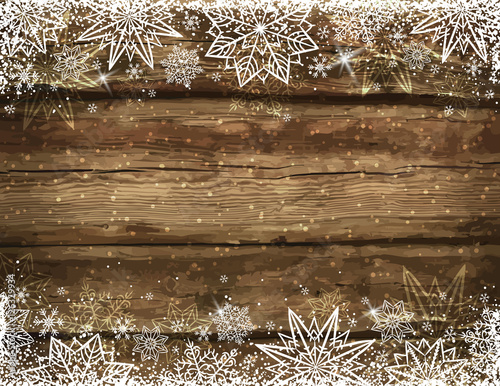 Wooden brown christmas background with snowflakes and stars, vec