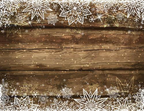 Drewniany brown bożego narodzenia tło z płatkami śniegu i gwiazdami, vec