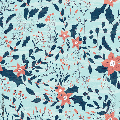 Cotton fabric Winter Flowers pattern