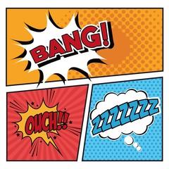 Bubble pop art icon set. Comic communication retro and expression theme. Vector illustration