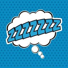 Bubble pop art sleep icon. Comic communication retro and expression theme. Vector illustration