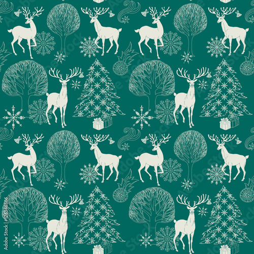 Cotton fabric Christmas and New Year blue festive background, xmas pattern