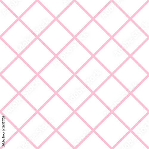 Pink Grid White Valentine Chess Board Diamond Background Vector Illustration. - 126351704
