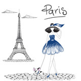 Girl walking with french bulldog in the Paris.