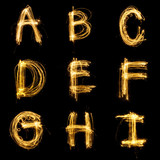 Collection of sparkler firework light alphabet. - 126371998