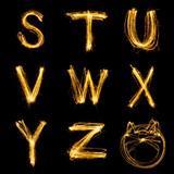Collection of sparkler firework light alphabet.