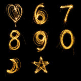 Collection of sparkler firework light alphabet number and sign. - 126372311
