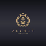 Luxury anchor logo template. Easy to edit, change size, color and text.