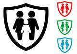 Icono plano familia con escudo varios colores