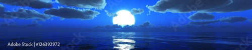 panorama of the sea under the moonlight. moonrise over the sea.