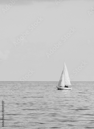Little boat in the sea ( black and White ) - 126393517